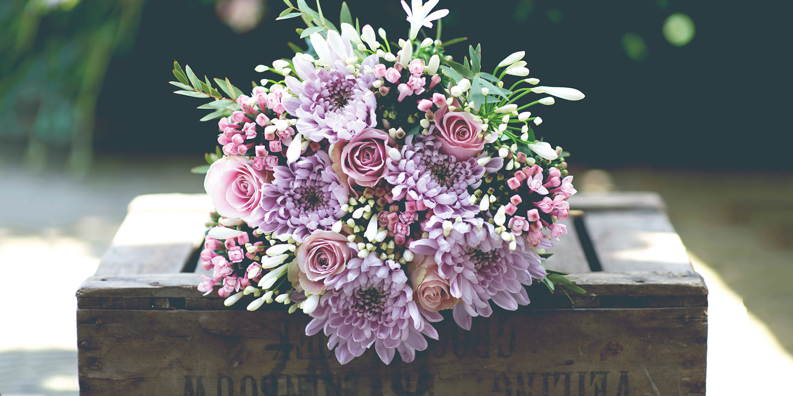 Bouquet on a flower crate